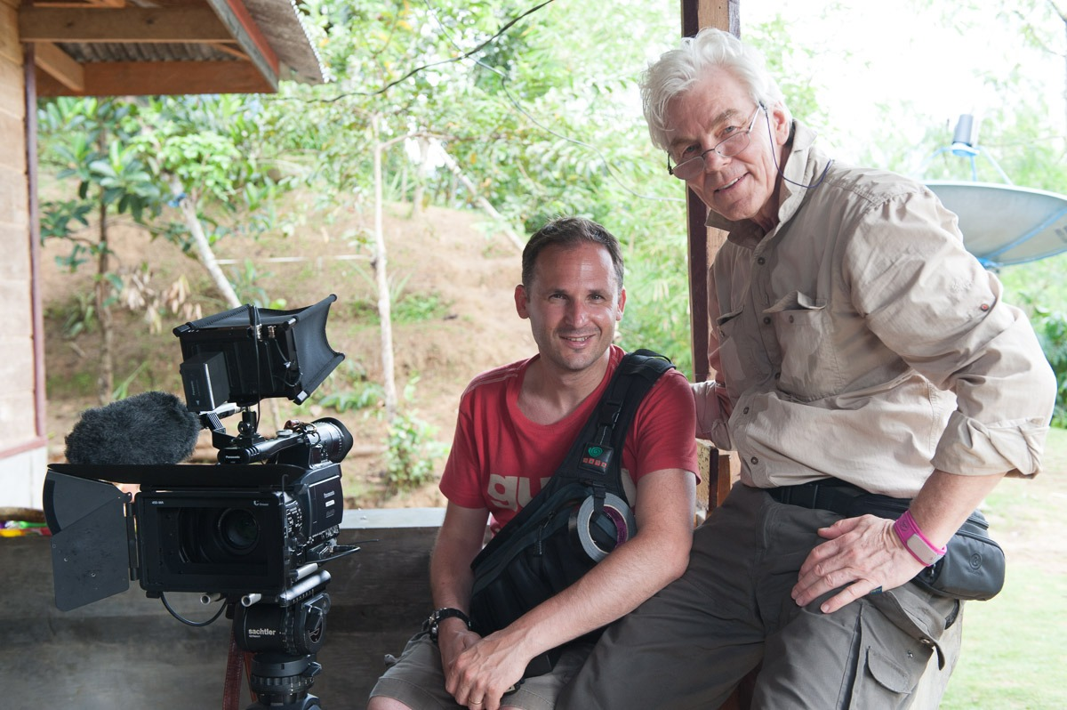 Filmmakers Stefano Levi and Werner Kubny on assignment in Indonesia